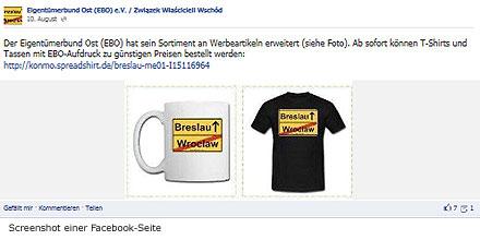 Screenshot einer Facebook-Seite