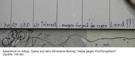 "Szene aus dem Panorama-Beitrag ""Hetze gegen Flüchtlingsheim"" vom 18.9. (Quelle: ndr.de)"