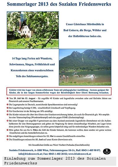 Einladung zum Sommerlager 2013 des Sozialen Friedenswerkes