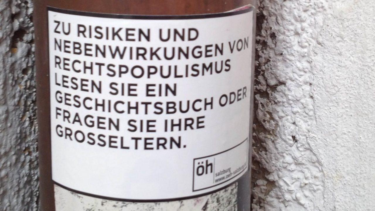 Sticker gegen Rechtspopulismus