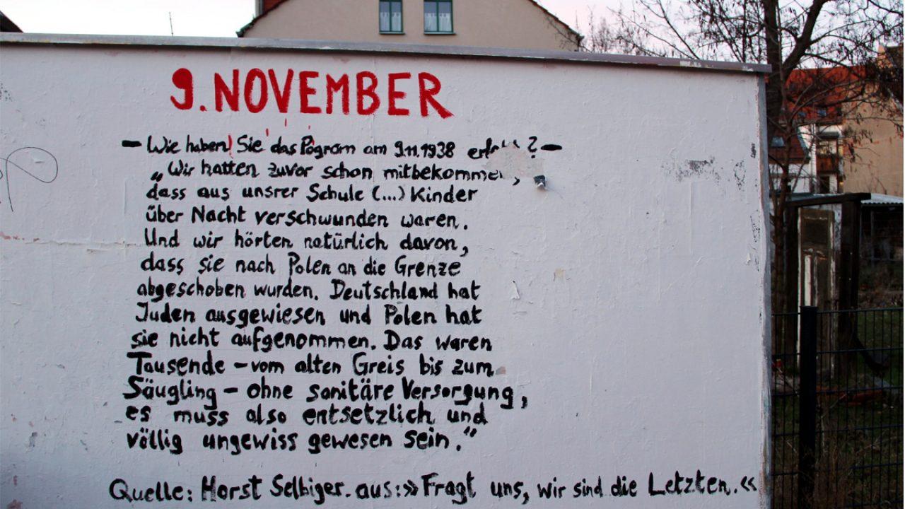 Zeitzeugenbericht zum 9. November 1938 als Graffito