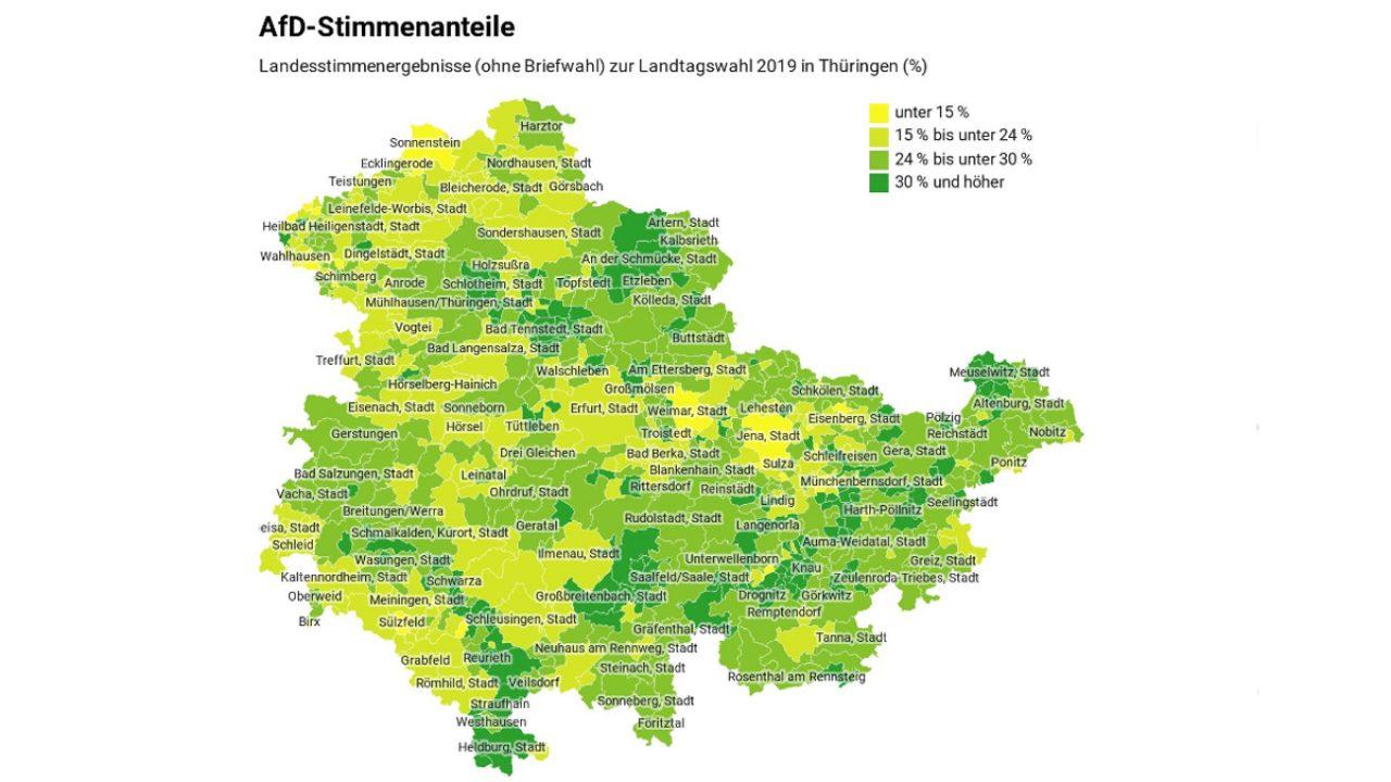 Thüringen-Karte mit AfD-Stimmanteilen