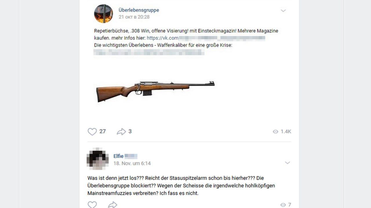 Post von VK: Überlebensgruppe empfiehlt Waffen