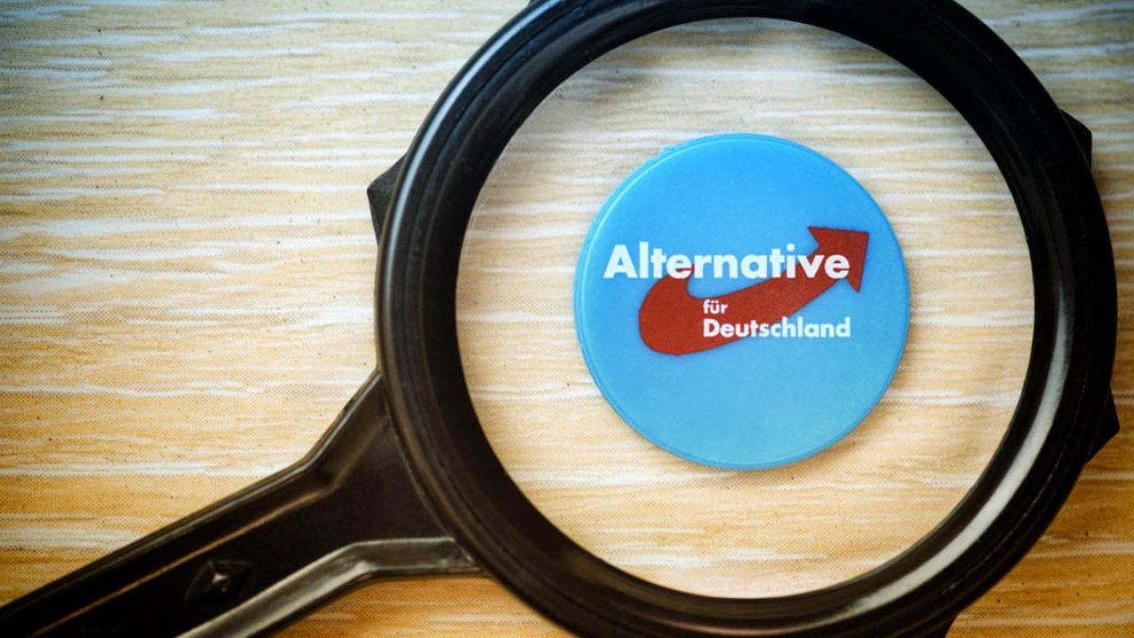 Logo der Partei Alternative für Deutschland unter der Lupe