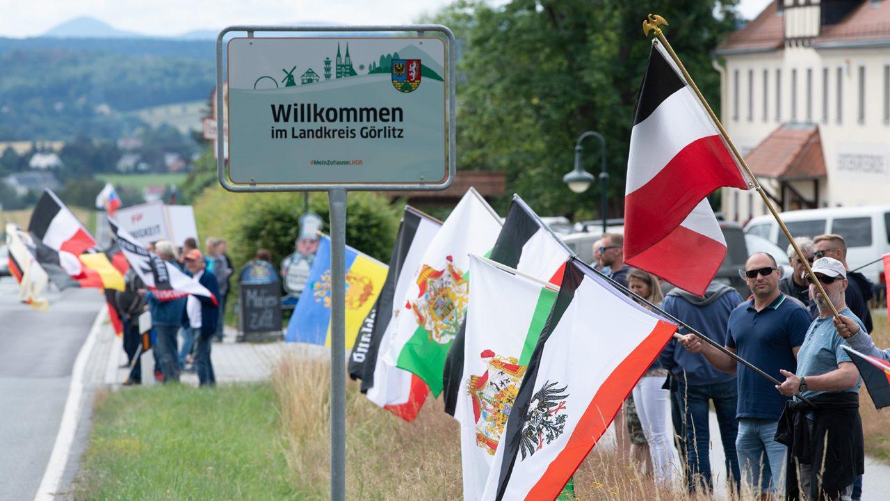 Proteste an der B96 in Bautzen, Sachsen.