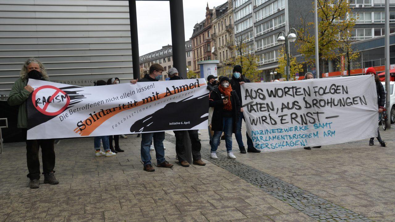 Kundgebung von Initiative6.April und KeinSchlussstrich vor OLG Frankfurt Oktober