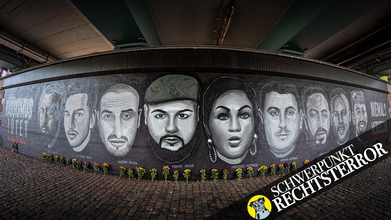 Ein Gedenkgraffiti unter der Friedensbruecke in Frankfurt. Das Kunstwerk wurde inzwischen beschmiert.