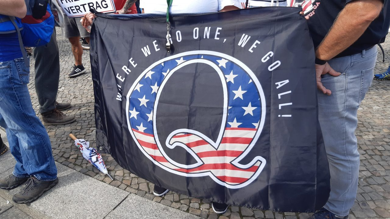 QAnon supporters at a demonstration against pandemic measures in Berlin in August 2020