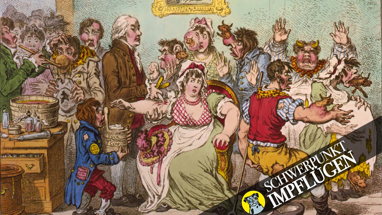 Eine impfgegnerische Karikatur aus dem Jahr 1802: Nach einer Pockenimpfung werden Menschen zu Kuhen