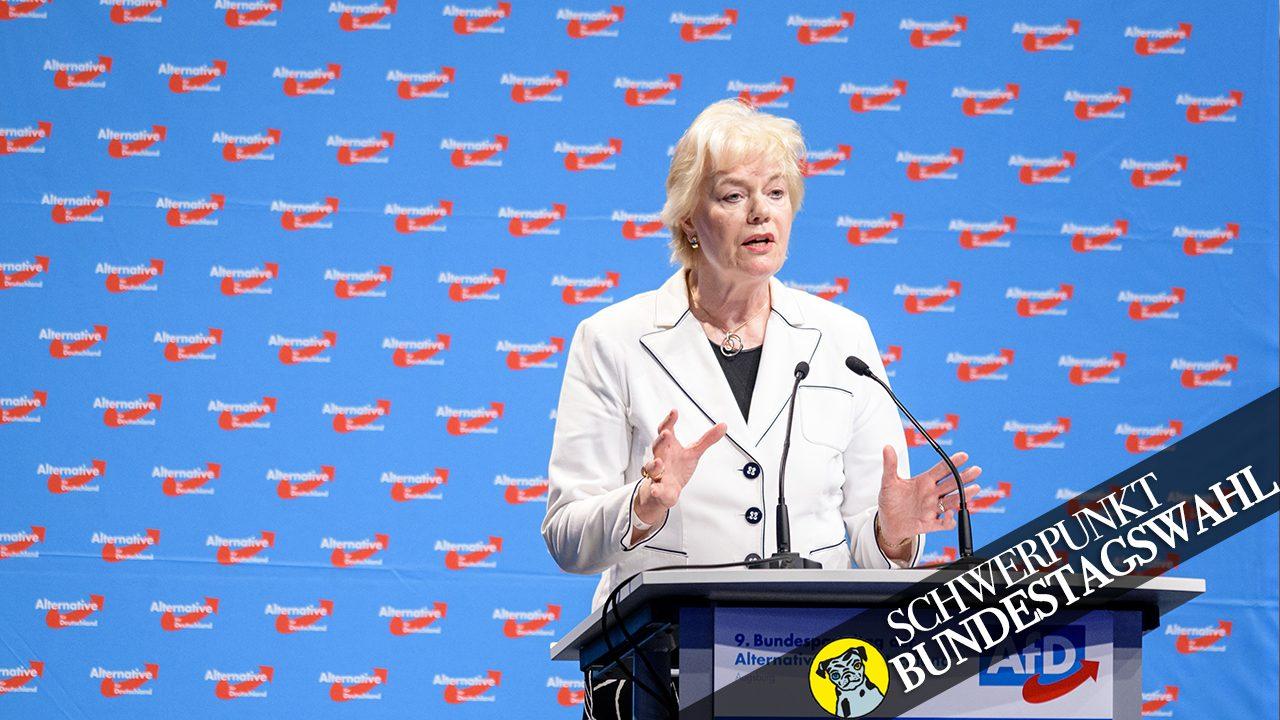 Erika Steinbach (parteilos), Vorsitzende der AfD-nahen Desiderius-Erasmus-Stiftung, hier auf dem Bundesparteitag der rechtsextremen Partei.